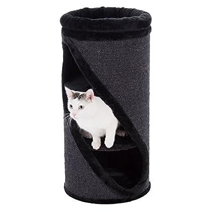Cat Scratching Barrel Multi Level Plush Bed Natural Sisal Black 3