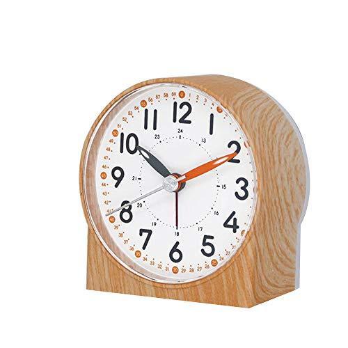 Desktop Desktop-Wecker Mute Sweeping Quarzuhr Home Schlafzimmer Nacht Snooze Wake Up Clock Harz Nachtlicht Uhr (Color : A)