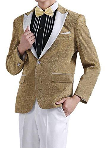 Herren Anzug Tuxedos Smokingsakko Partei Anzugjacken Anzuege 1 Teilig Klagejacke Classic Sakko Mit Herrenmode Knopf Jungs (Color : Gold, Size : M) (Gold Tuxedo)