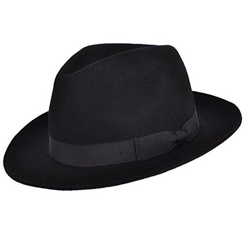 Gladwin Bond qualità realizzato a mano Fedora Trilby cappello con banda abbinata 100% lana Black M-57 cm