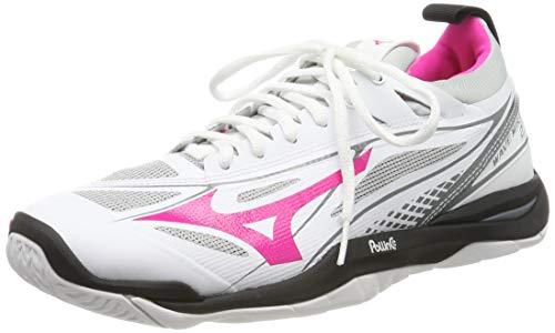 Mizuno Damen Wave Mirage 2.1 Sneakers, Mehrfarbig (White/Black/Pink Glo 001), 40 EU