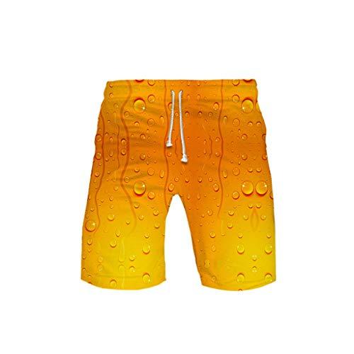WOZOW Cargo Shorts Kurze Hose Damen Herren Casual Loose Boho Hawaii Oktoberfest Bierfest Print Muster Bedrucktes Lustig Kostüm Midi Beach Freizeithose Stoffhose High Waist Trouser (5XL,Farbverlauf)