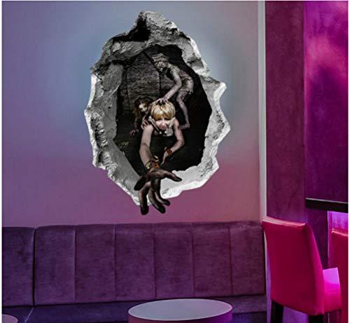 koration 3D horror gebrochen wand böse wandaufkleber für kinderzimmer fenster wohnkultur wohnzimmer wandaufkleber wandbild 45 * 60 cm ()