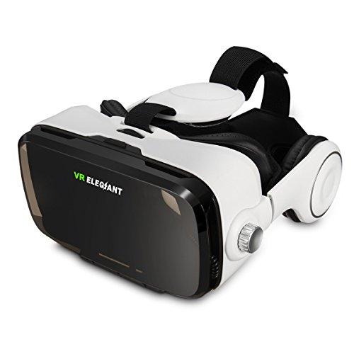 ELEGIANT 3D VR Headset Virtuelle Realität Headset Virtual Reality Brille Headset 3D VR Brille 3D Filme Video Box mit Kopfhörer Headset für 3D Fiome und Spielen Kompatibel mit 4 ~ 6 Zoll Smartphones iPhone 8 7 6 6Plus 6s 5S Samsung Note S5 S6 Edge Plus Note 3 4 5 HTC One M LG Sony usw
