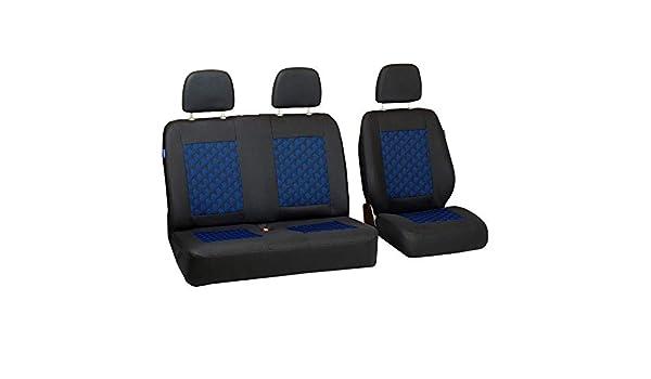 Zakschneider Housses De Si/ège pour Volkswagen T4 Ensemble De Housses 1+2 Couleur Premium Noir avec Effet 3D Bleu