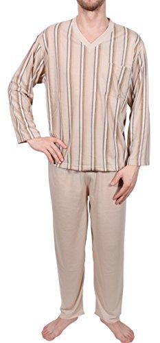 Herrenpyjama Schlafanzug Nachthemd lang Sand