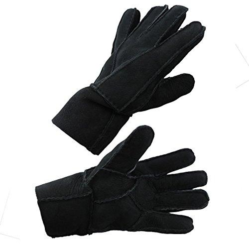 Sonia Originelli Handschuhe Patchwork Schaf Lammfell Winter Leder Farbe Schwarz, Größe S (Lamm-fell Schwarze)