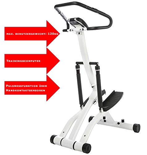 Stepper Fitnessgerät Beintrainer Handpulssensor Heimtrainer mit Trainingscomputer Display Pulsmessung