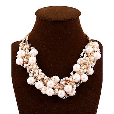 FengJingYuan-XL Damen Statement Halskette/Perlenkette - Perle Damen, Luxus, Festival/Holiday Schmuck für Hochzeit, Party, besondere Anlässe,White