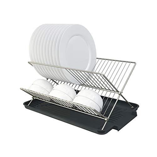 LIN HE SHOP Abtropffläche, Durable Plate Drying Rack, 2-stufiger Klapp-Abtropfflächenhalter, Tellerständer mit rutschfestem PP-Abtropfflächen, Besteckkorb Metal Plate Rack