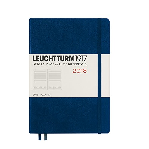 LEUCHTTURM1917 355247 Daily Planner Medium (A5) 2018, Navy, English