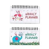 yeahibaby Quaderno a spirale, Calendario di quaderno Quaderno di pianificatore settimanale, 2pezzi (Elefante e Fenicottero Rosa)