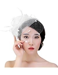 La Vogue Tocados de Pelo Velo Flor Plum Novia Decoración para Boda Blanco