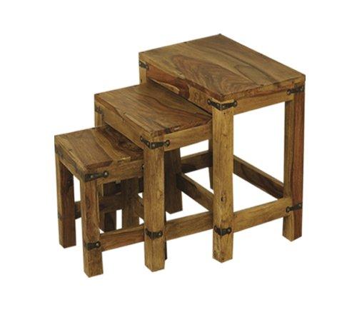 Olive Grove Tables gigognes - Ensemble de 3 tables en bois de shisham massif d'Inde