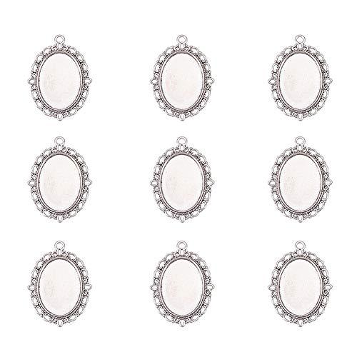 Pandahall Fassungen für Anhänger, oval, aus Legierung, altsilberfarben, für Cabochon/Edelsteine/Halsketten, 40x 30mm, 5Stück, silber, 25x19mm