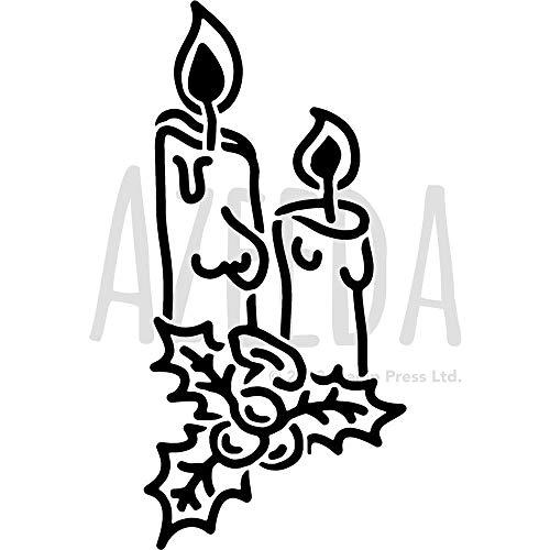 Azeeda Groß A2 'Weihnachtskerzen' Wandschablone / Vorlage (WS00030909)