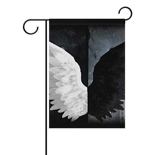 JIRT Gartenflagge, 30,5 x 45,7 cm, Fliege, weiß, Schwarze Engelsflügel, doppelseitig, Polyester, Banner für drinnen und draußen, für Rasen und Hof, Dekoration, Image 251, 28x40(in)
