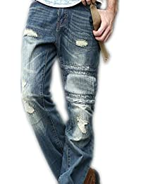 newfacelook Mens Jeans Ripped Fashion Blue Denim Jeans Pants Trousers Max