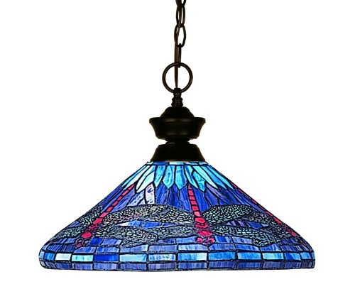 Tiffany Bronze-finish (Z-Lite 100701BRZ-D16-1 One Light Pendant, Metal Frame, Bronze Finish and Multi Color Tiffany Shade of Glass Material by Z-Lite)