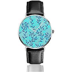 Liana Spreads Aqua Blue Leaves Creeper Damen Herren 'S Fashion Watch Pu Lederband Casual Armbanduhr