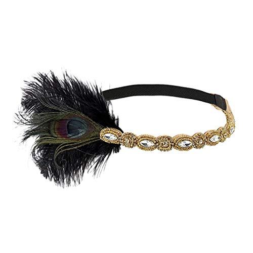 Zolimx Kopfschmuck 20er Jahre Vintage Headpiece Feather Flapper Stirnband Feder PaillettenHaarband Gatsby Party Headdress Federstirnband Braut Prom Karneval Kostüm Accessoires Damen (L)