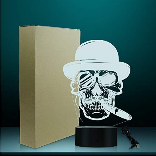 3d Led Lámpara De Ilusión Óptica Cráneo En Sombrero Con Cigarro Y Monocle Emblema Iluminado Signo Cigarro Fumando Cráneo Lámpara Halloween Esqueleto Humo Noche Luz (Halloween 2019 Marcos)