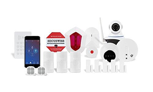 Programmierbare Lichtsteuerung (Gold-Paket Secuswiss Smart Home Funk Alarmanlage von Top-Qualität und einfacher Installation. Sichern Sie Ihr Haus mit dies App-gesteuertes Alarm mit programmierbare Heimbeleuchtung, Bewegungsmelder, Überwachungskamera, Lichtsteuerung, Videosteuerung, und Anschluss mit ein Überwachungsstation)