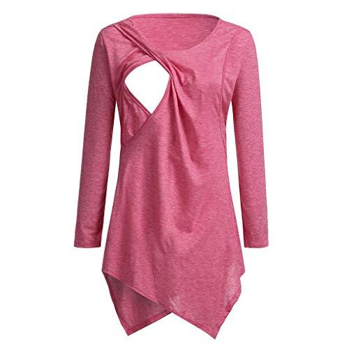 Amphia - Schwangere Frauen Langarm-ShirtSchwangerschafts-Kreiskragen-T-Shirt der Frauen Mutterschafts-Krankenpflege-Baby übersteigt Kleidung - - Katze Kostüm Für Schwangere Frauen