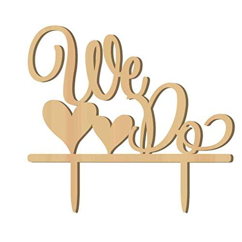 Sunlera Romantisches Holz We Do-Kuchen-Deckel Holz Hochzeitstorte Stand Dekoration (Stand Hochzeitstorte)