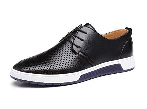 Zapatos de Cuero Hombre, Oxford con Cordones Brogue Vestir Derby Informal Negocios Boda Calzado Respirable Negro 40
