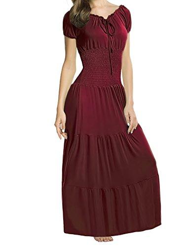 Beyove Damen Renaissance Maxikleid Falten Empire Kleid Stretch Tailliert Kurzarm Herbst