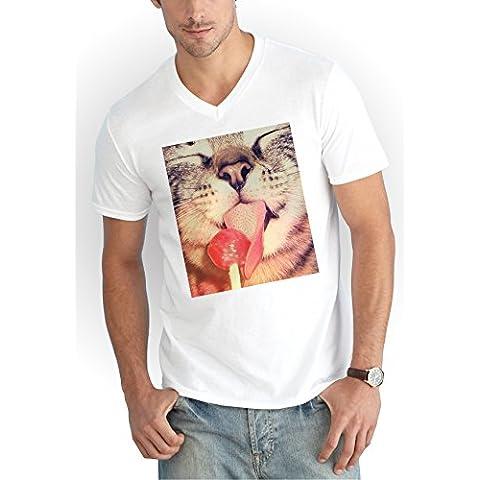 Lolipop Cat V-Neck T-Shirt Bianco