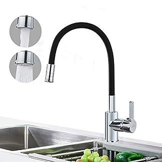 41MF  Eo2hL. SS324  - Auralum Grifo de Cocina Negro con Ducha de Doble Purga | con Caño Giratorio de 360 ° | Grifo Mezclador Flexible para Cocina | Mezclador Monomando Mezclador de Lavabo Mezclador de Cocina