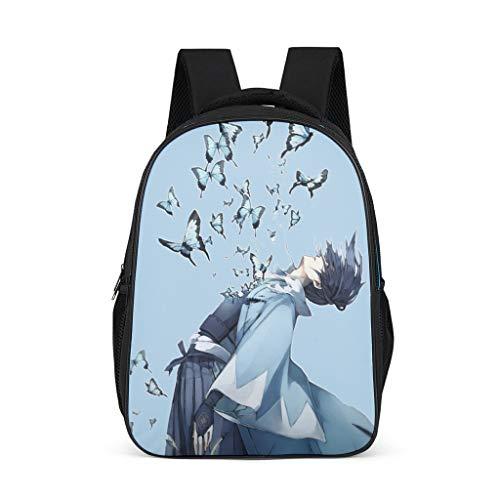 Born for-Anime Rucksack mit japanischem Anime-Motiv im lässigen Stil - Anime große Büchertasche mit Schmetterlingsmuster, für Schüler und Studenten Einheitsgröße grau