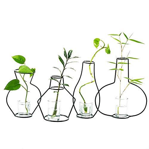 eativen Blumentöpfen für den Schreibtisch, mit Glasbecher, Vasen und Metallständer aus Eisen für Wasserpflanzen, Blumengestecke Dekoration (4 Stck) ()
