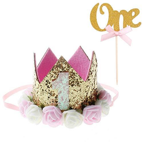 rtstagskrone 1 Jahr Kuchenstecker Baby Krone Haarband Haarschmuck Prinzessin Pink Blumen Zahnstocher Tortenstecker Kinder 1. Geburtstag Baby Mädchen Jungen Dekor (Golden) ()