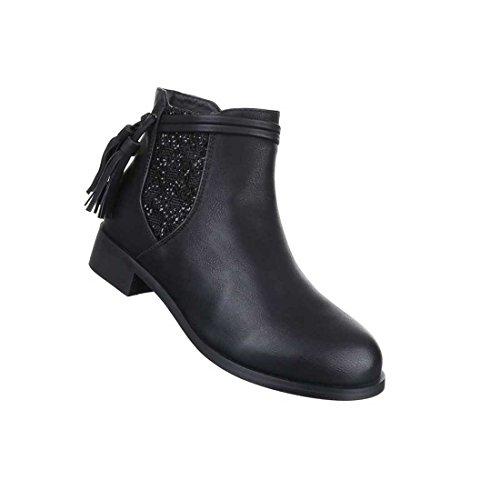 Damen Boots Stiefeletten Schuhe Used Optik Schwarz 36 37 38 39 40 41 Schwarz
