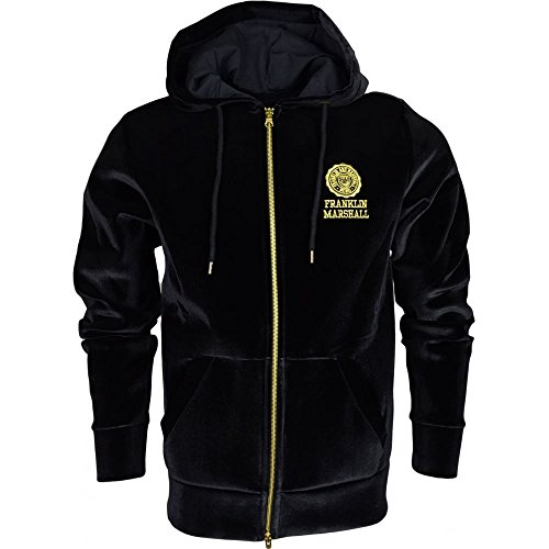 Franklin-Marshall-Fleece-Velour-Zip-Up-Crest-Logo-Black-Hoodie