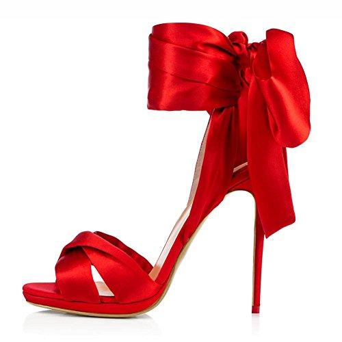 L@YC Tacco a Spillo Da Donna In Seta Con Tacco alto E Tacco a Spillo Da Donna/Più Colori Disponibili Red