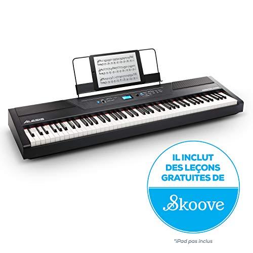 Alesis Recital PRO - Piano Numérique / Clavier avec 88 Touches à Mécanique de Marteau, 12 Voix Premium, Enceintes Intégrées de 20 W, Sortie pour Casque Audio et Fonctionnalités Pédagogiques Efficaces