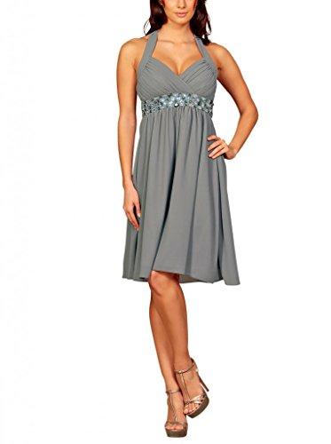 My Evening Dress - Kurzes Damen Cocktailkleid Neckholder Knielang Chiffon  Kleider Abendkleider Ballkleider mit Strasssteinen Frauen ...