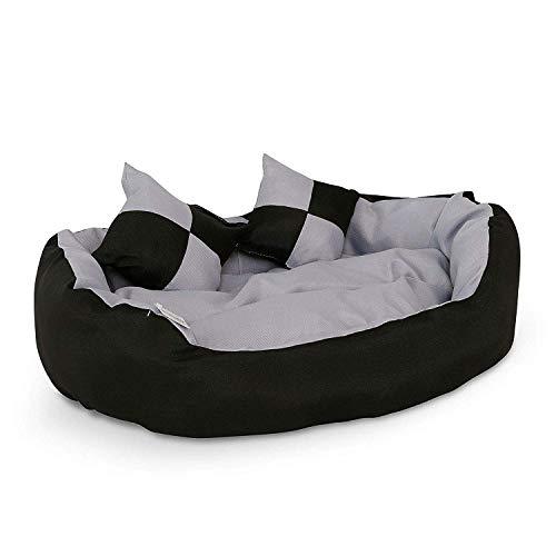 dibea Lit/Canapé Lavable avec Coussin Réversible pour chien - Gris/Noir - 65 x 50 x 20 cm