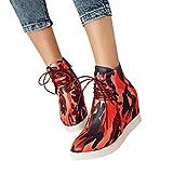 Tianwlio Frauen Herbst Winter Stiefel Schuhe Stiefeletten Boots Damen Mode Camouflage Stiefeletten Wedges Booties Schnürschuhe für Schuhe rot 43