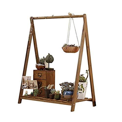 Retro Hölzern Blume Topf, 1 Schichten Innen Draussen Garten Kletterpflanze Bonsai Beweglich Blumen Racks Stand Anzeige Steht zum Leben Zimmer Balkon