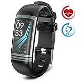 Montre Connectée Montre Sport avec Cardiofréquencemètre Podomètre Calorie Sommeil IP67 Étanche Bracelet Montre Tactile Compatible avec Android et iOS
