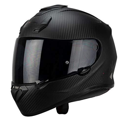 Nitro N3100 Carbon Uno - Casco da Moto L in Carbonio Satinato con Visiera Scura