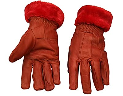 Good Life Stuff Stylish Genuine Leather Winter Protective Gloves for women in red (GLSGL-8012)
