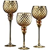 Fifth Avenue Crystal 215256-GD-GB Quilted Set Of 3 Candle Holders-Gold,Gold