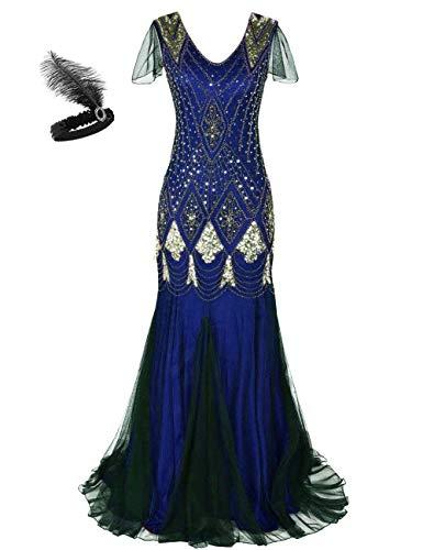 Generic Frauen 1920er Jahre Long Abendkleid Perlen Pailletten Meerjungfrau Hem Ball Abendkleid mit Ärmel Stirnband frei (XL, Blue Gold)