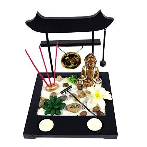 Jardin Zen Torii con Figura de Buda Dorada con Dos Portavelas y Tres inciensios Estilo japonés Thai Dar Buena Suerte Y Fengshui Ideal Regalo